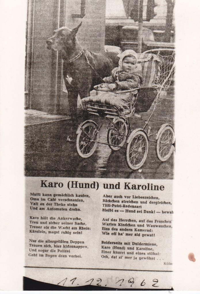 Dagmar Schultze mit Herzog vom Heusenstamm 1961 im Kölner Stadt Anzeiger